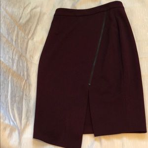 Maroon pencil skirt with accent zipper